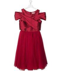 monnalisa cross-drape tulle dress - red