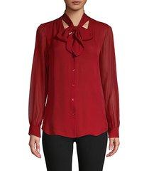 tie-neck button-front silk top