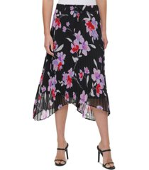 calvin klein pleated floral-print skirt