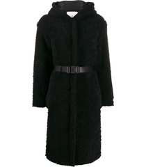 ba & sh filip belted fleece coat - black