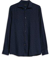 men's ermenegildo zegna premium cotton button-up shirt, size large - grey
