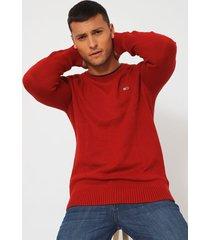 sweater tommy jeans tjm essential crew neck  rojo  - calce regular