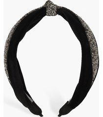 velvet embellished knot top headband, black