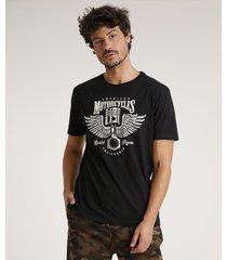 "camiseta masculina ""american motorcycles"" manga curta gola careca preta"
