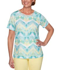 alfred dunner petite spring lake floral & chevron-print top