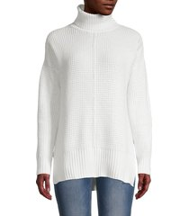 sweet romeo women's seed stitch turtleneck sweater - latte - size s