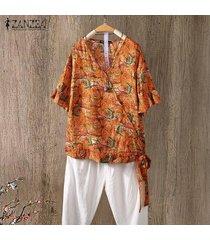 zanzea para mujer de la llamarada de la manga cuello en v impreso floral tops camisas ocasionales flojas de la blusa -naranja