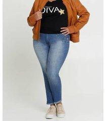 calça jeans biotipo plus size skinny strass feminina