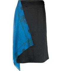 marine serre hanging panel silk skirt - black