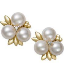 belle de mer cultured freshwater pearl (6mm) and diamond stud earrings in 14k gold, created for macy's
