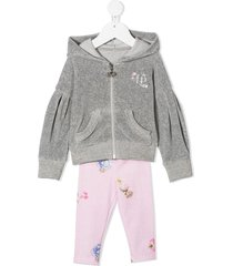 lapin house zip-front hoodie tracksuit set - grey