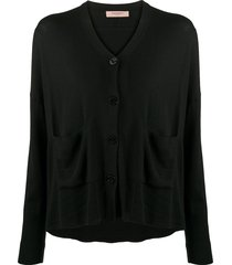 twin-set slouchy button-front cardigan - black