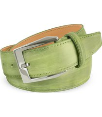 pakerson designer men's belts, men's pistachio green hand painted italian leather belt