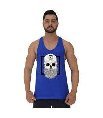 regata cavada masculina alto conceito caveira lenhador hipster boné azul royal