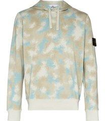 stone island camouflage print hoodie - blue