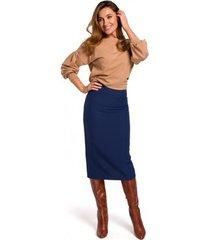 rok style s171 kokerrok met hoge taille - marineblauw