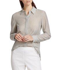 theory women's classic striped dress shirt - navy multi - size xs