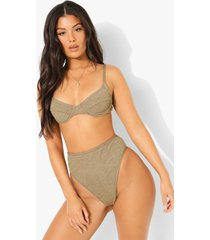mix & match gekreukelde bikini top met beugel, light khaki
