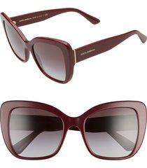 women's dolce & gabbana 54mm gradient butterfly sunglasses - bordeaux/ grey gradient