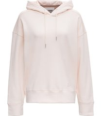 jil sander pink cotton hoodie with logo embroidery