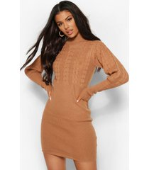 balloon sleeve cable knit dress, camel