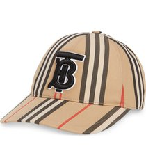 burberry tb monogram icon stripe baseball cap, size medium in archive beige ip s at nordstrom