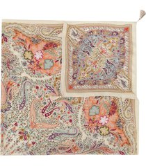 etro paisley print crinkle-chiffon scarf - neutrals