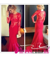 elegant mermaid long sleeves red lace gown long prom dresses sexy red prom dress