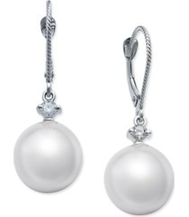 cultured white south sea pearl (11mm) and diamond (1/6 ct. t.w.) drop earrings in 14k white gold