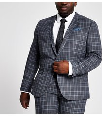river island mens big and tall blue check suit jacket