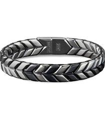 'chevron' silver titanium woven effect bracelet