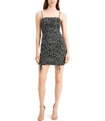 bar iii ditsy-print ruched mini dress, created for macy's