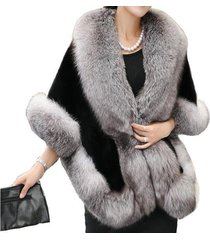 luxury women's ladies faux mink cashmere wedding winter long fur coat shawl cape