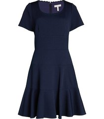 rebecca taylor women's chevron flare dress - navy - size 2