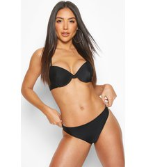 lace back detail push up underwired bikini, black