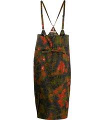 julien david tie-dye print suspender skirt - green