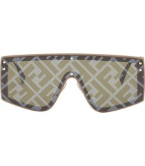 fendi eyewear fabulous shield sunglasses - black
