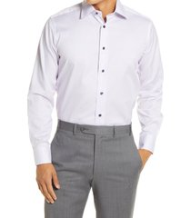 men's big & tall david donahue trim fit dot print dress shirt, size 18 - 36/37 - purple