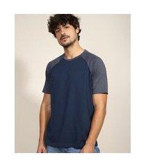 camiseta masculina básica raglan manga curta gola careca azul marinho