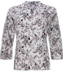blusa con pechera estampado flores color negro, talla m
