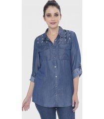 blusa mezclilla aplicación de piedras en bolsillos azul lorenzo di pontti