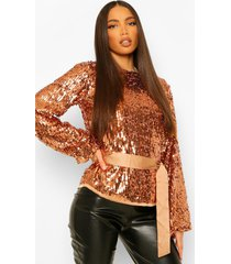 tall top met pailletten, ballonmouwen en ceintuur, rose gold