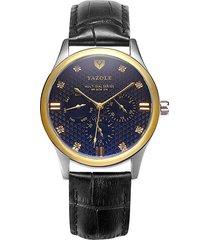 reloj hombres de seis puntas para hombre calendario-negro