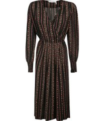 see by chloé asymmetric floral embroidered v-neck dress