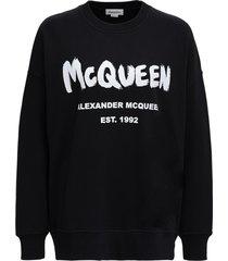 alexander mcqueen black cotton sweatshirt with logo print