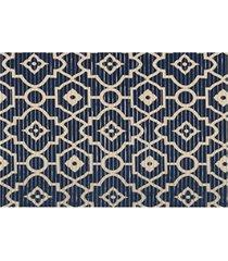 capacho em pvc tropical arabesco 43x65cm azul e bege