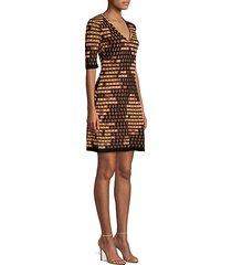 lurex elbow-sleeve knit dress