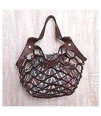 leather shoulder bag, 'sea green nest' (indonesia)