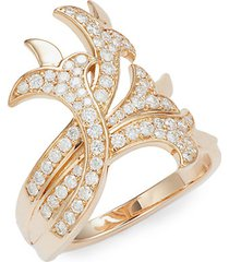 french tulip 18k rose gold & diamond intertwining ring