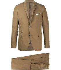 neil barrett travel fine bi-stretch gabardine slim suit - brown